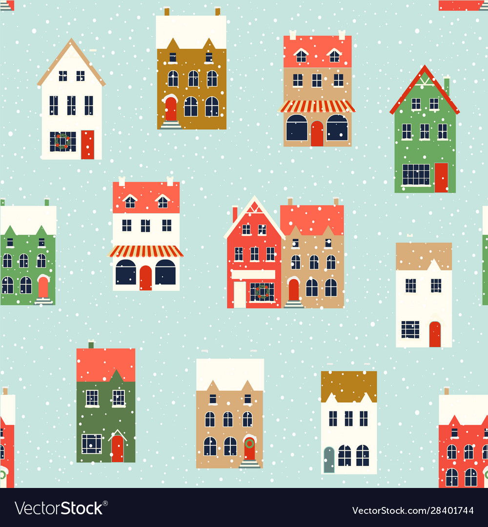 Winter houses christmas fabrics and decor