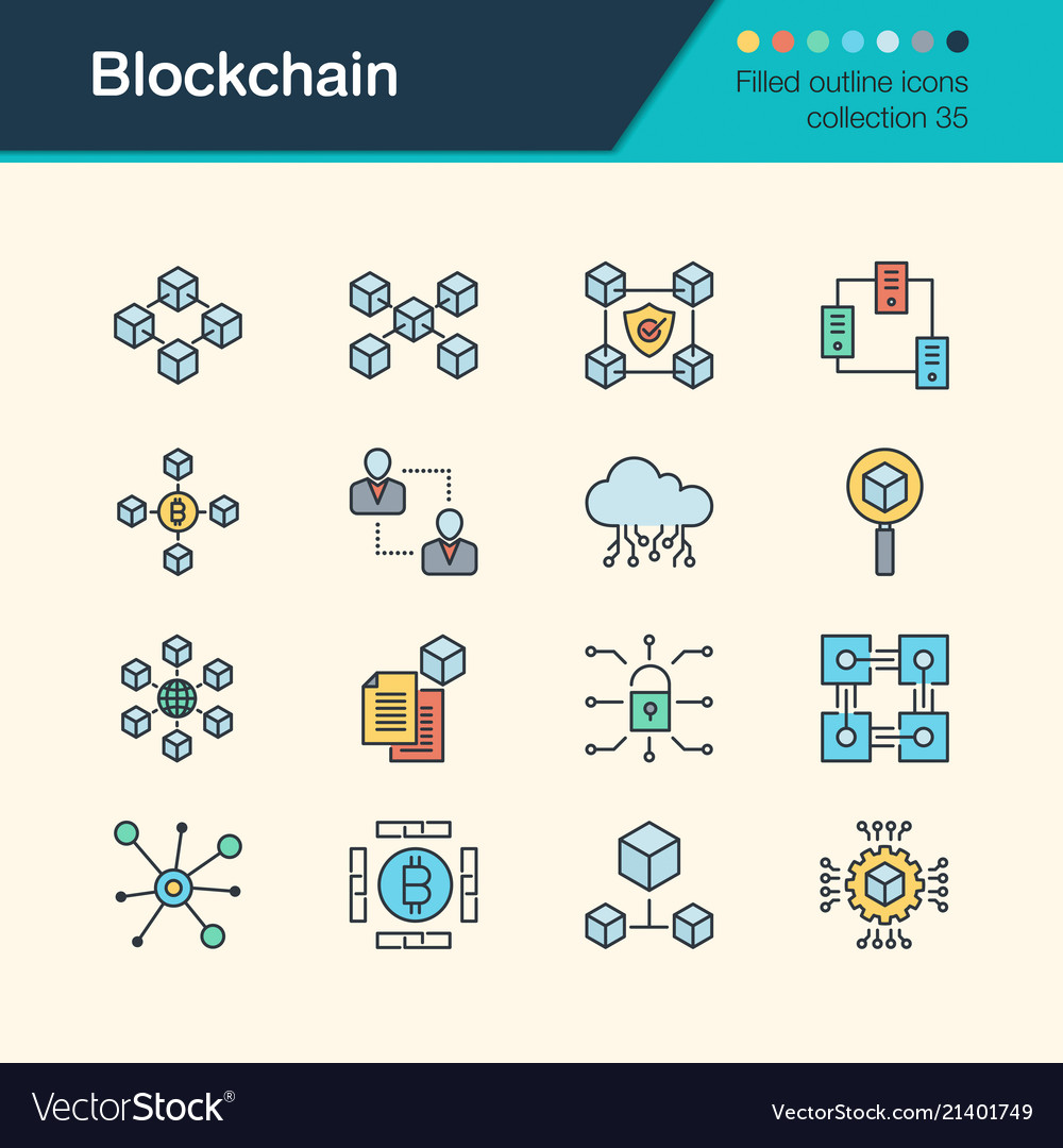 Blockchain icons filled outline design collection