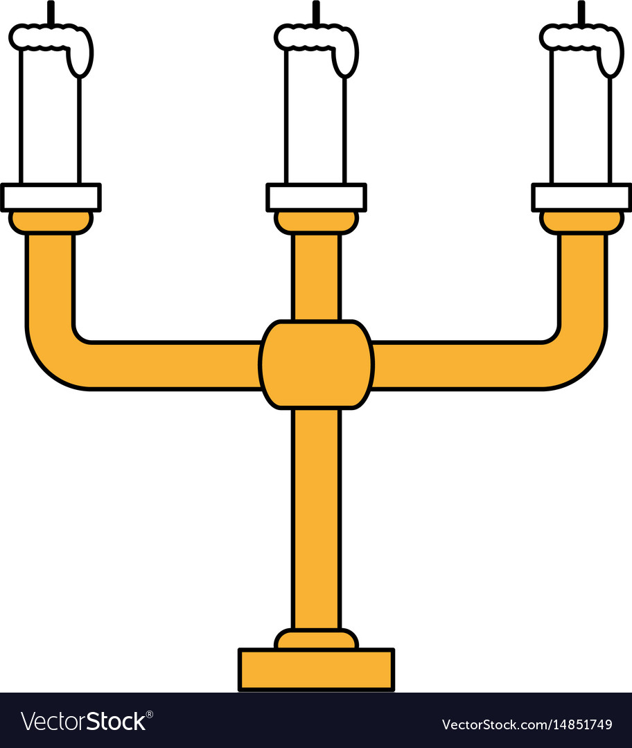 Color silhouette image candlestick with base and vector image