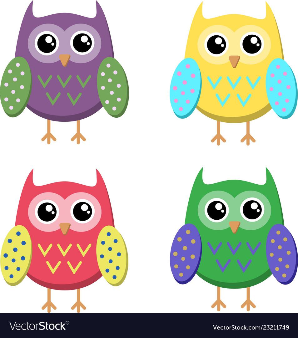 Cute cartoon owls icons bright owls