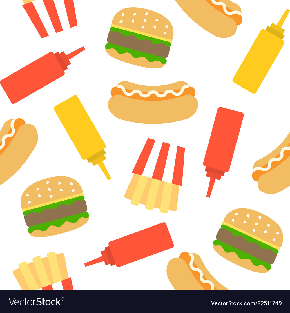 Fast food seamless pattern for wrapping paper
