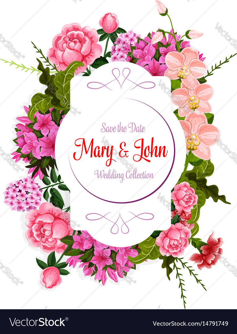 Flowers Bouquet For Wedding Greeting Card Vector Image