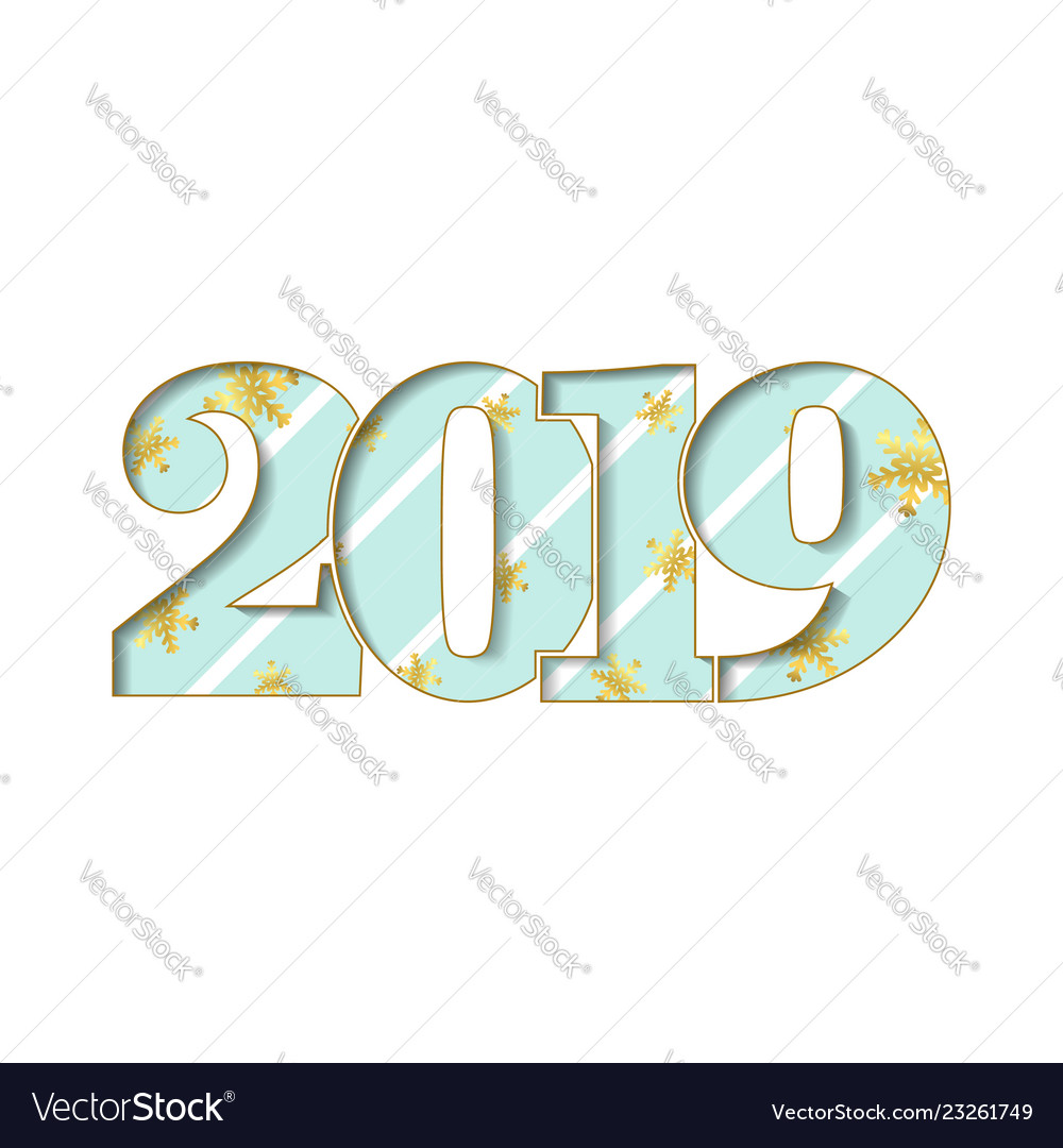 Happy new year card blue number 2019 with gold