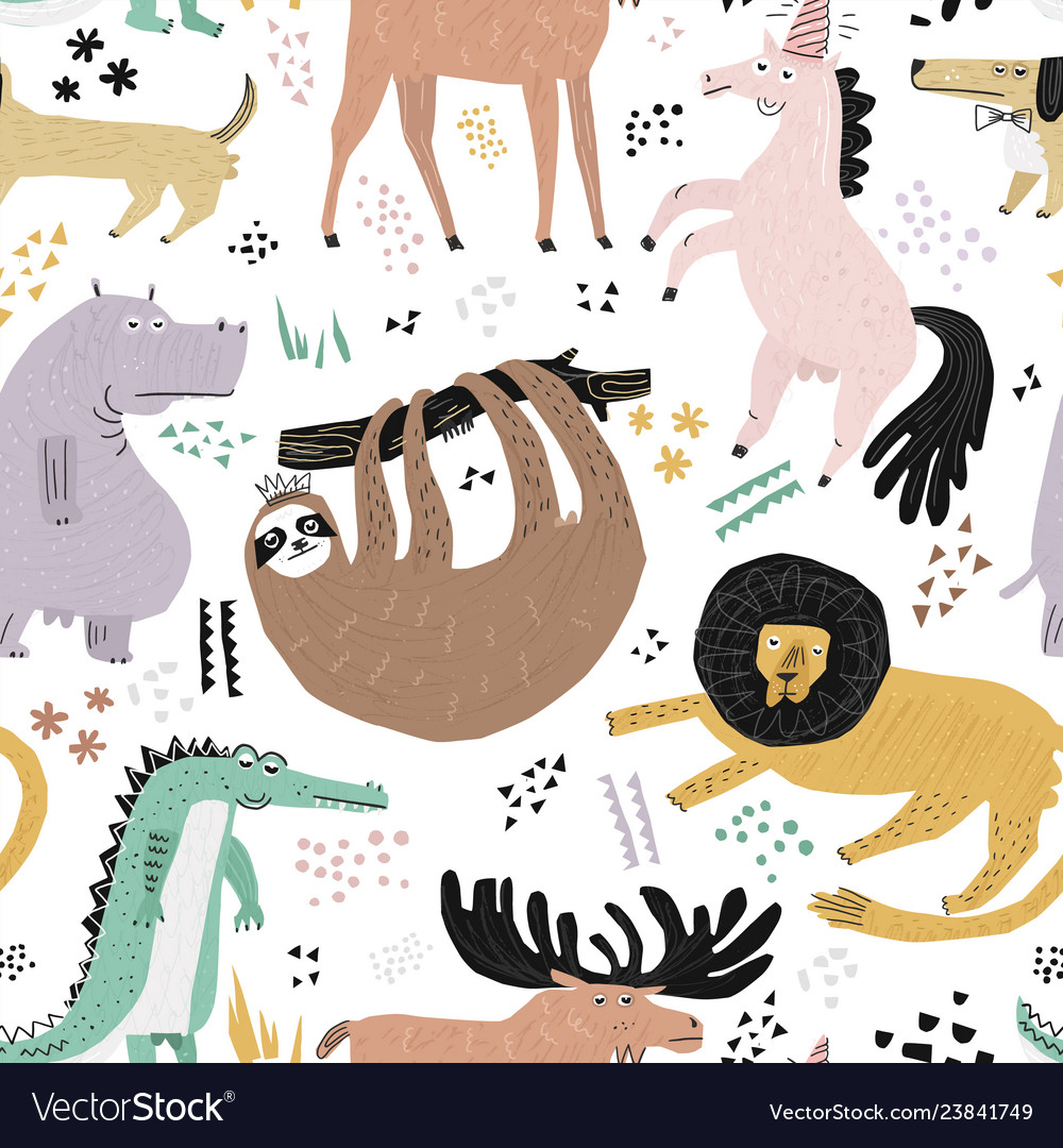 Lazy animals hand drawn color seamless pattern