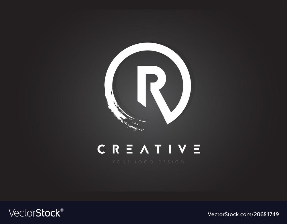 R circular letter logo with circle brush design