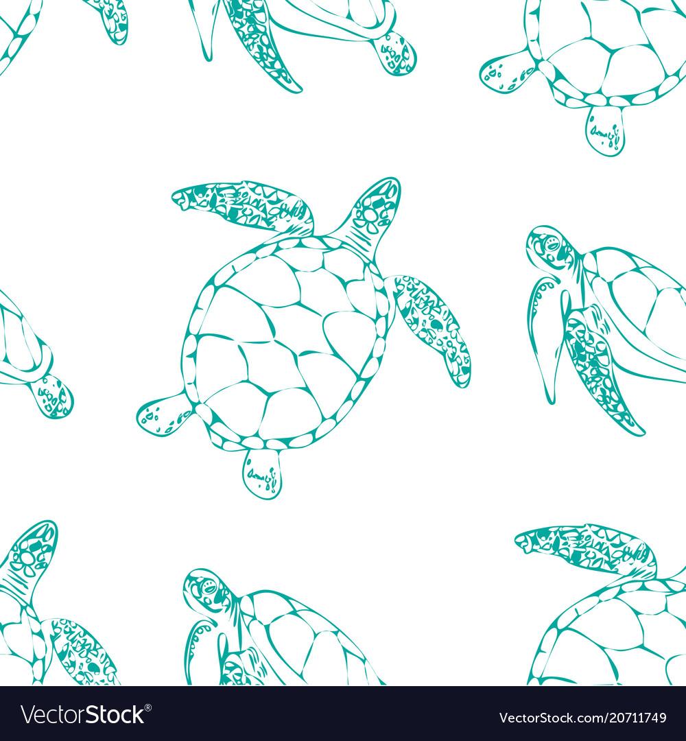 Sea turtles seamless background