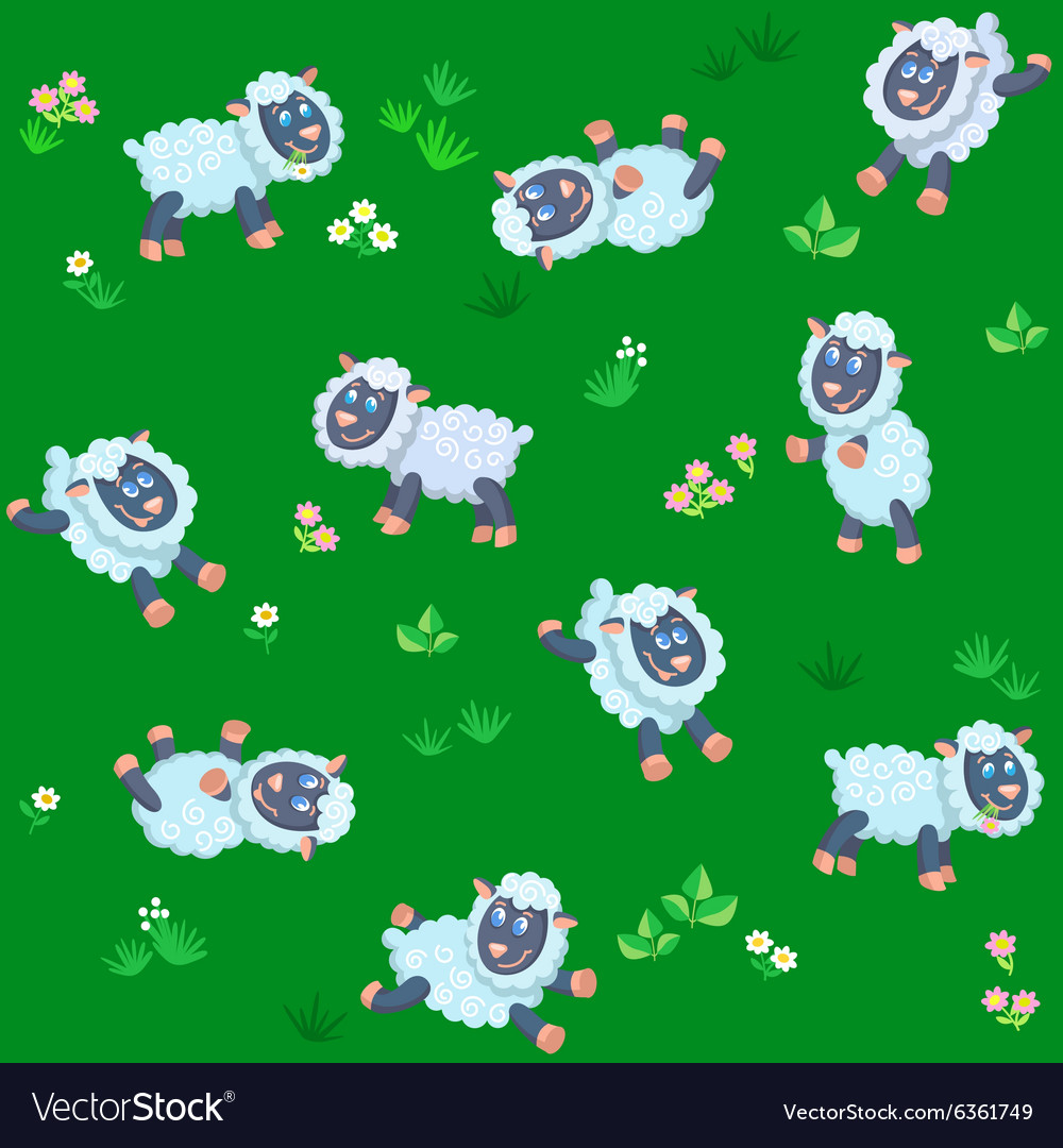 Seamless pattern of summer meadow with sheep