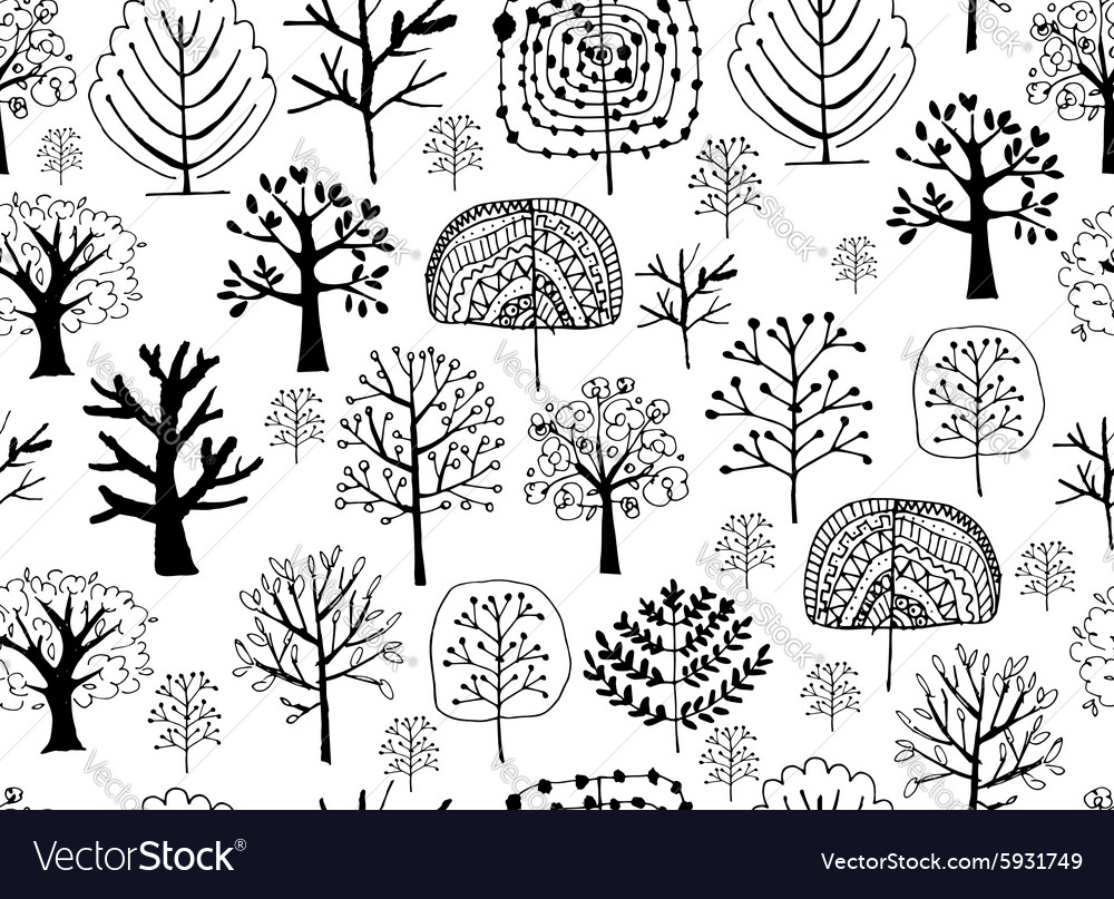 Seamless pattern with trees sketch for your