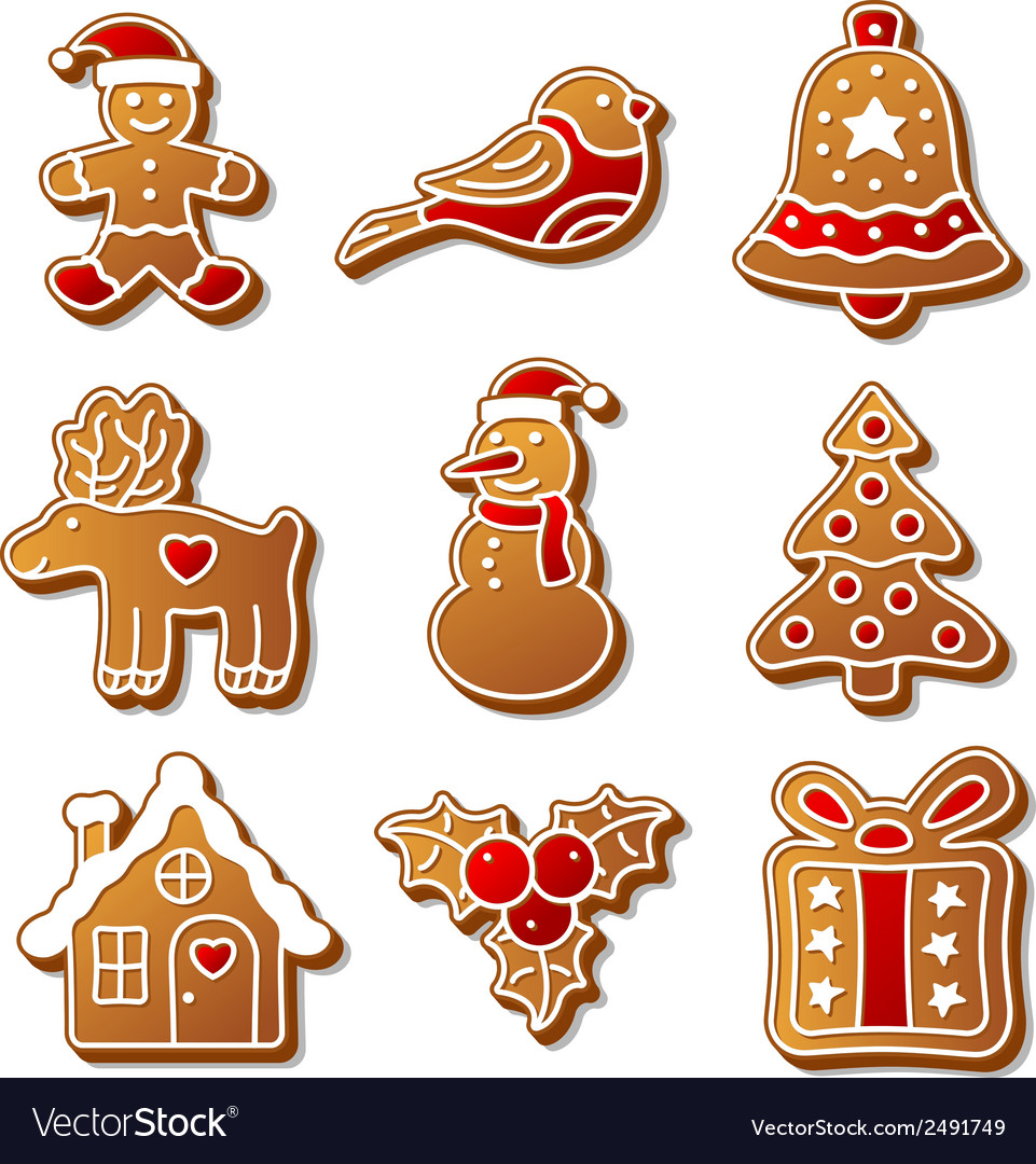 Set of Christmas ginger breads for your design