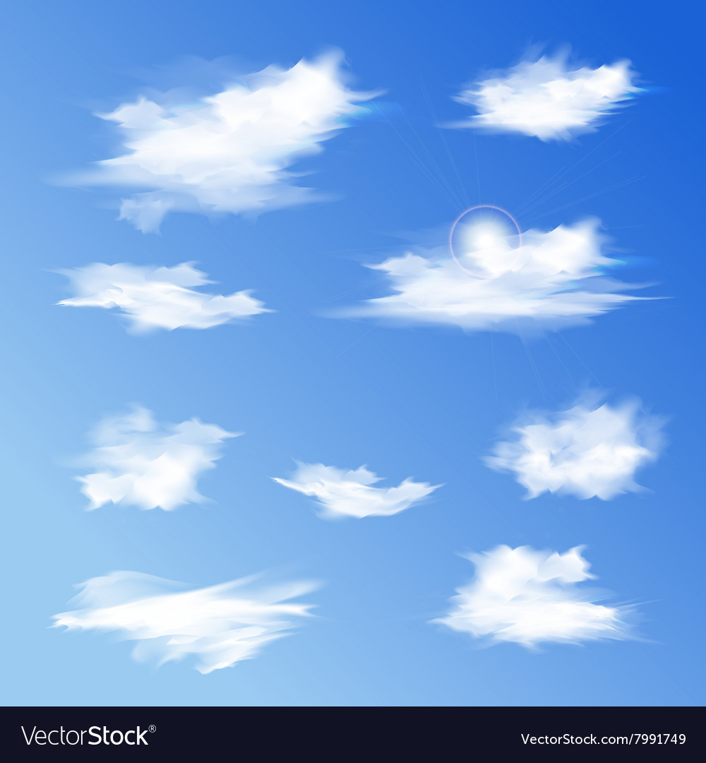 Set of white different clouds