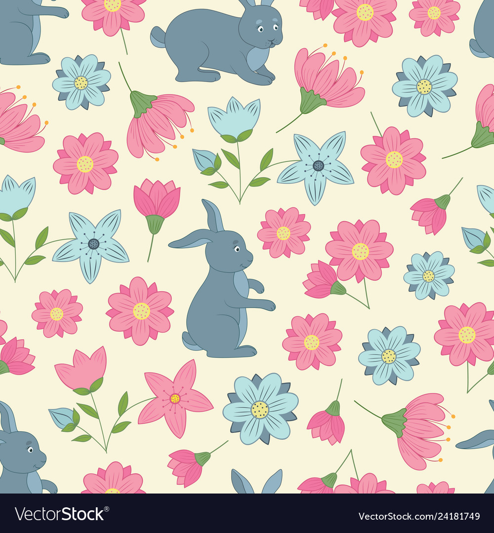 Spring seamless pattern with flowers and rabbits