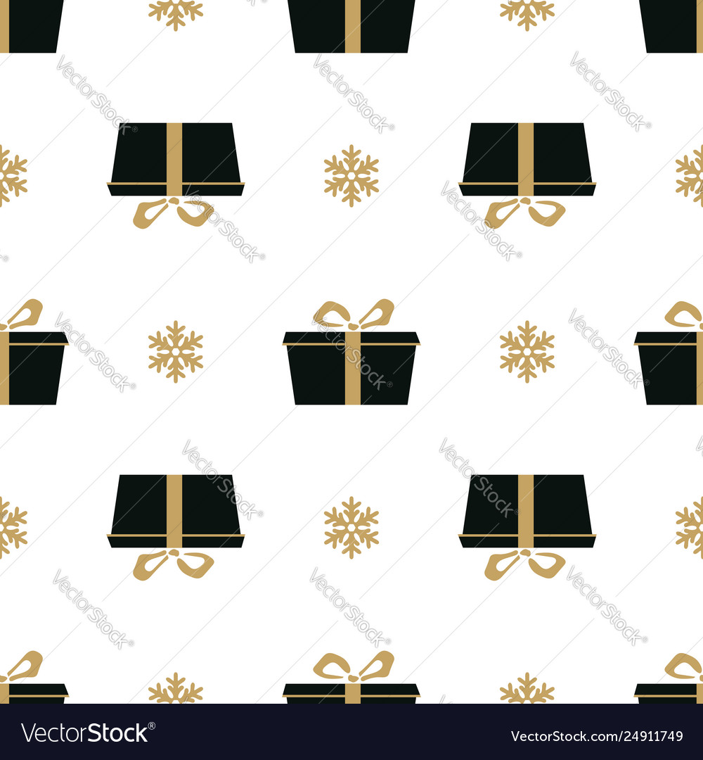 Winter white background with black and gold gift