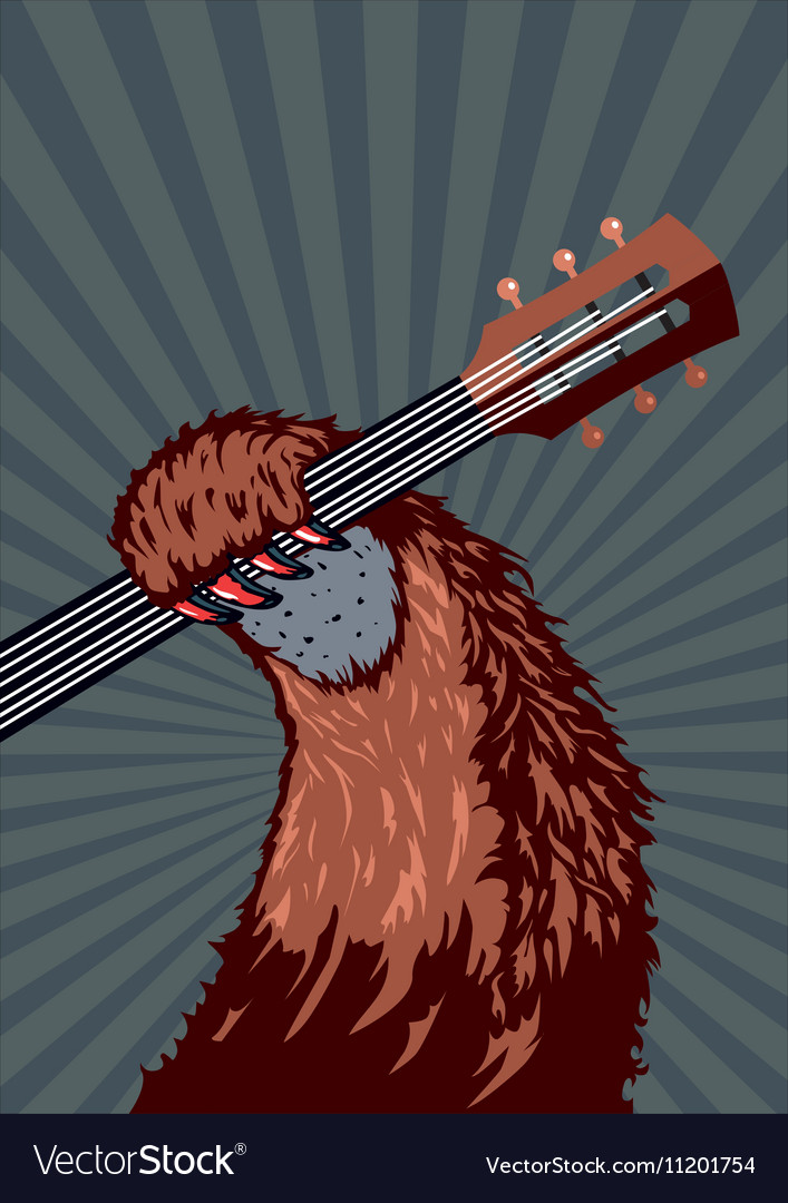 Animal paw with guitar Music poster background