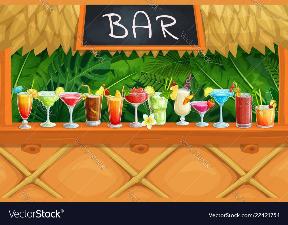 Beach tiki bar alcoholic cocktails