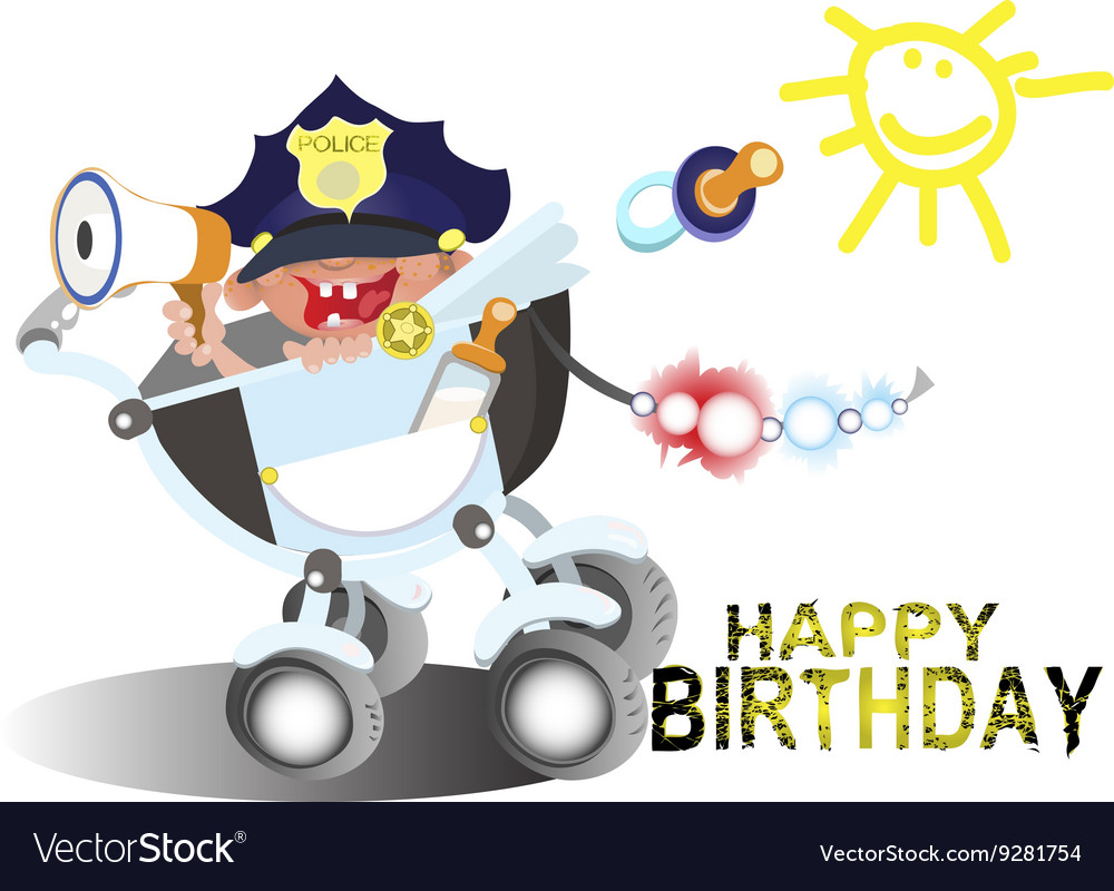 Birthday Greetings For A Police Officer Royalty Free Vector