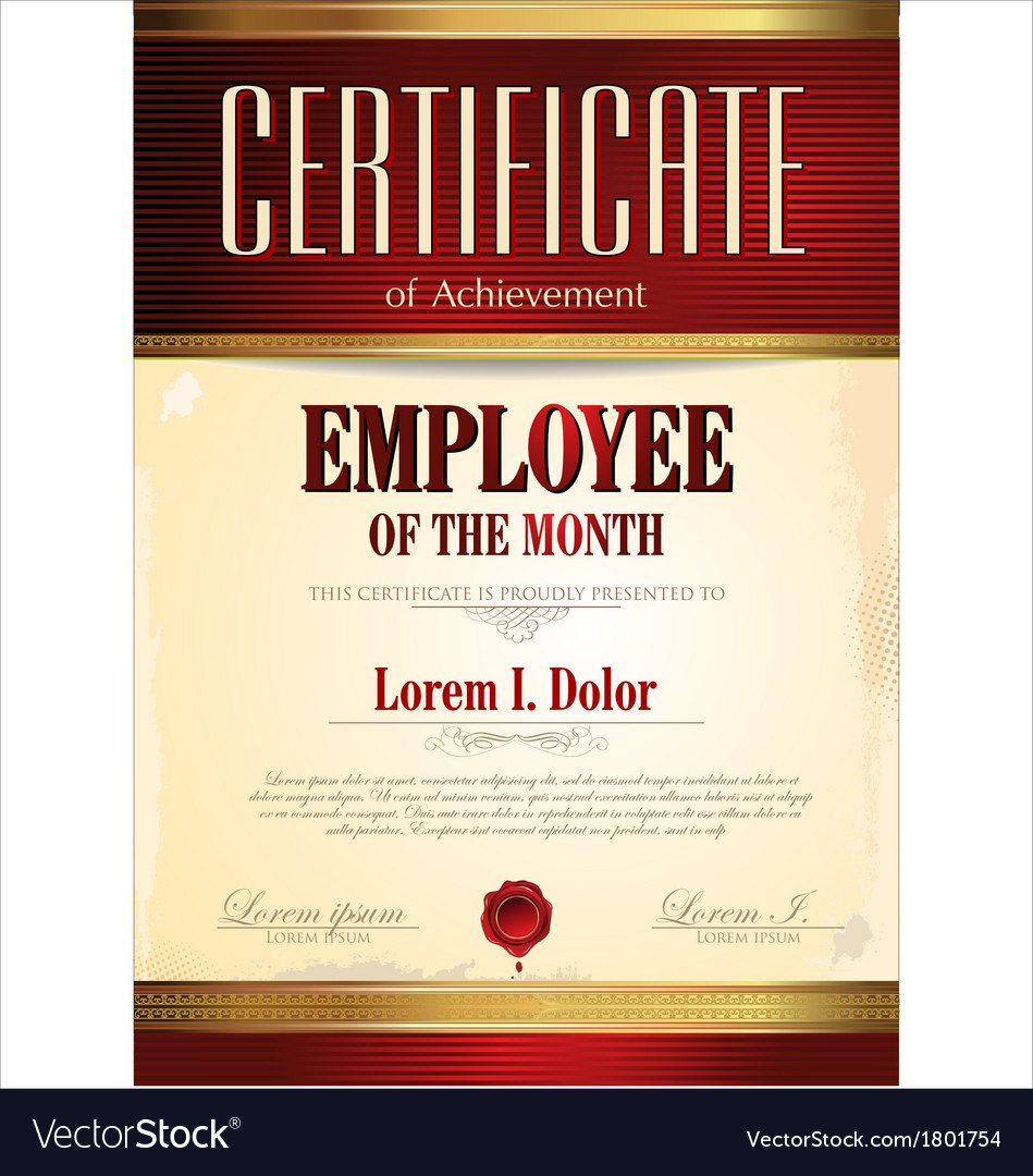 Certificate template employee of the month