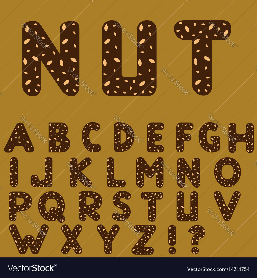 Chocolate alphabet with nuts vector image
