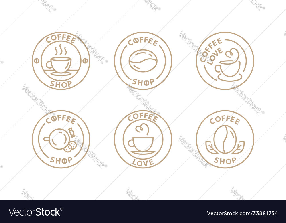 Coffee logo set template for cafe in modern line