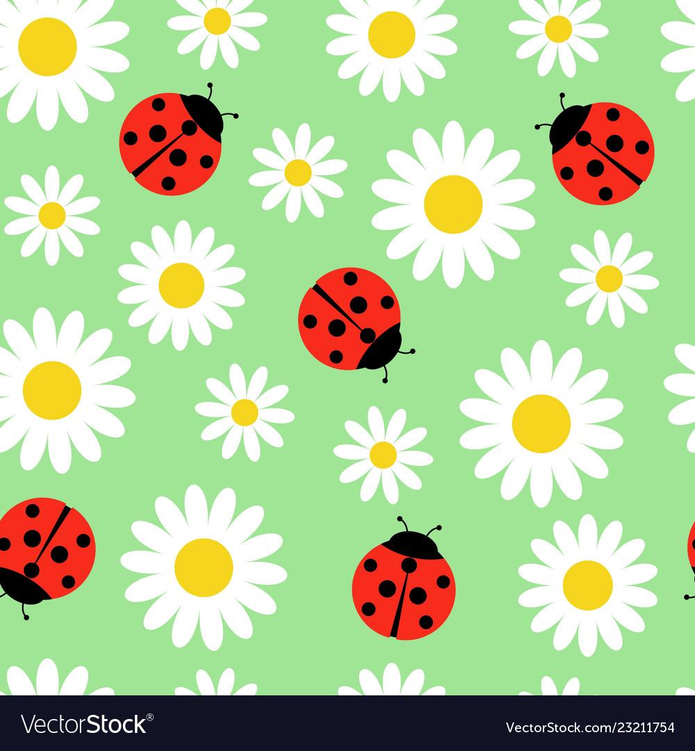 Daisies and ladybugs seamless pattern