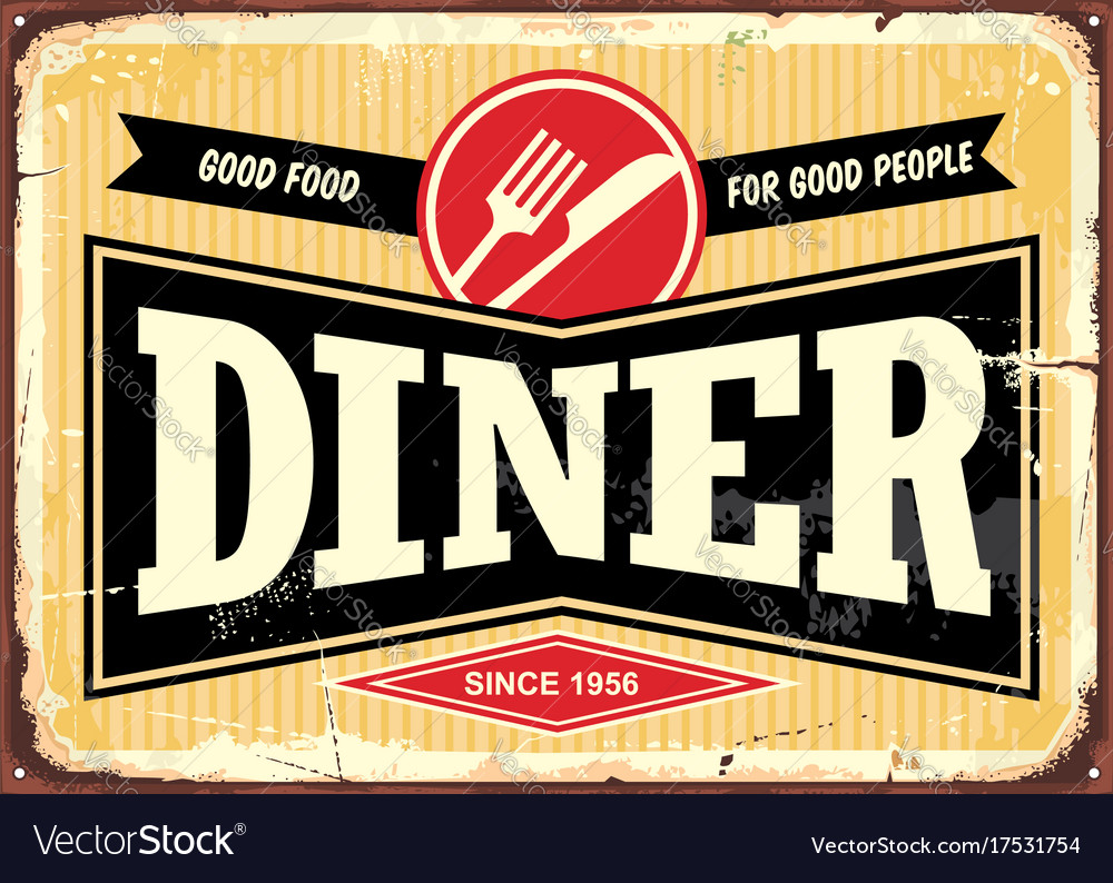 Diner retro sign board vector image