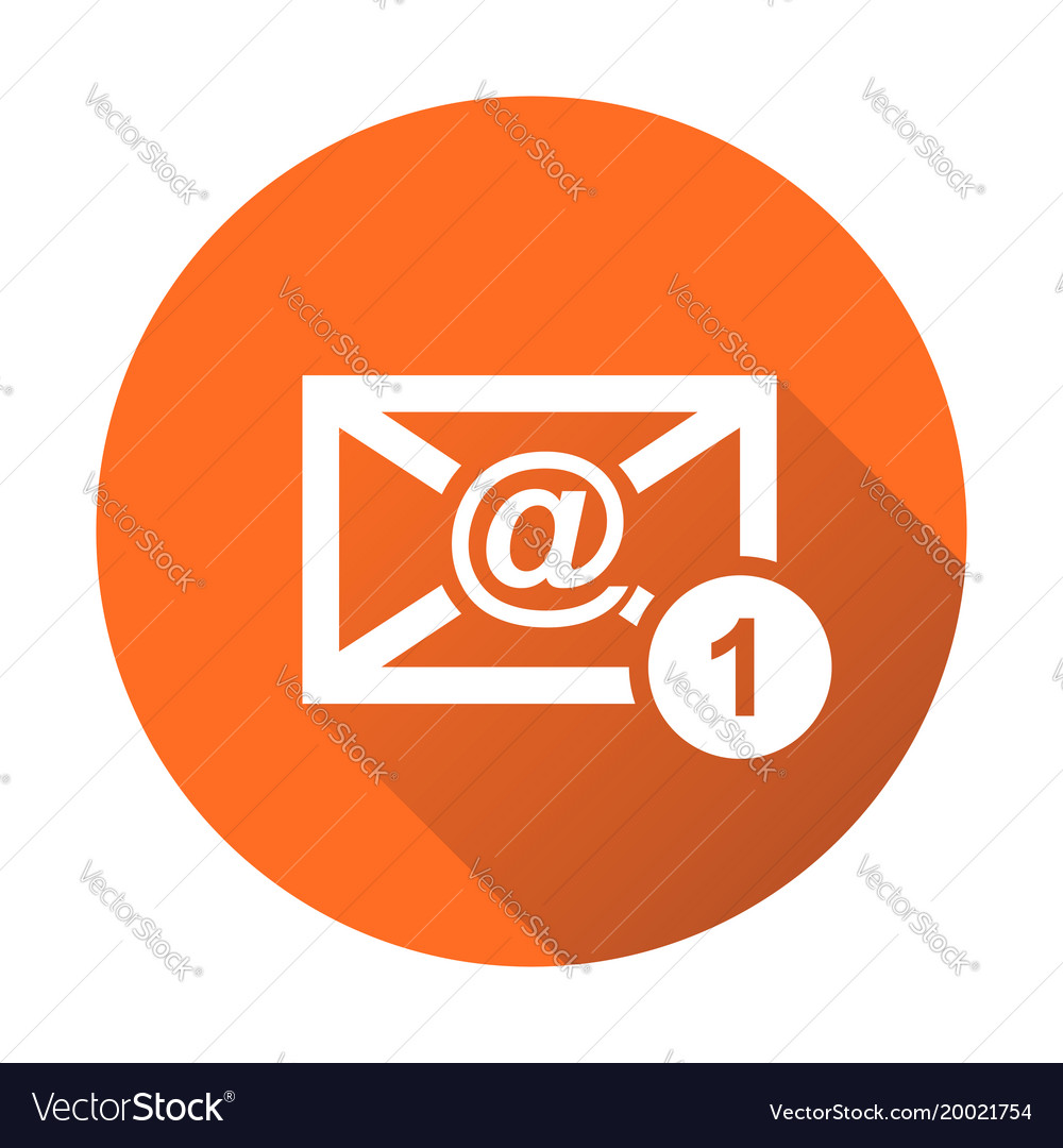 Email envelope message in flat style on round