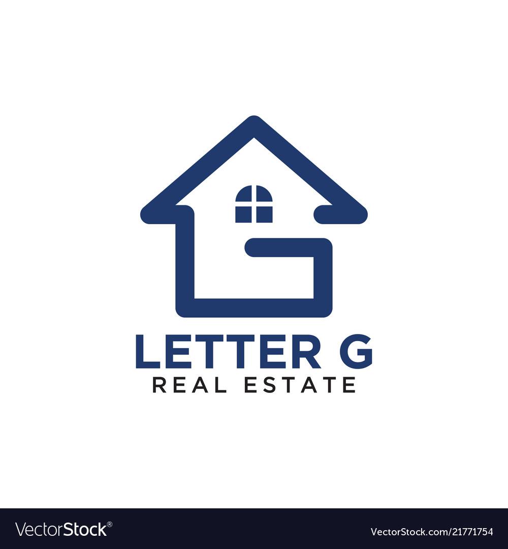 Initial letter g home real estate logo design