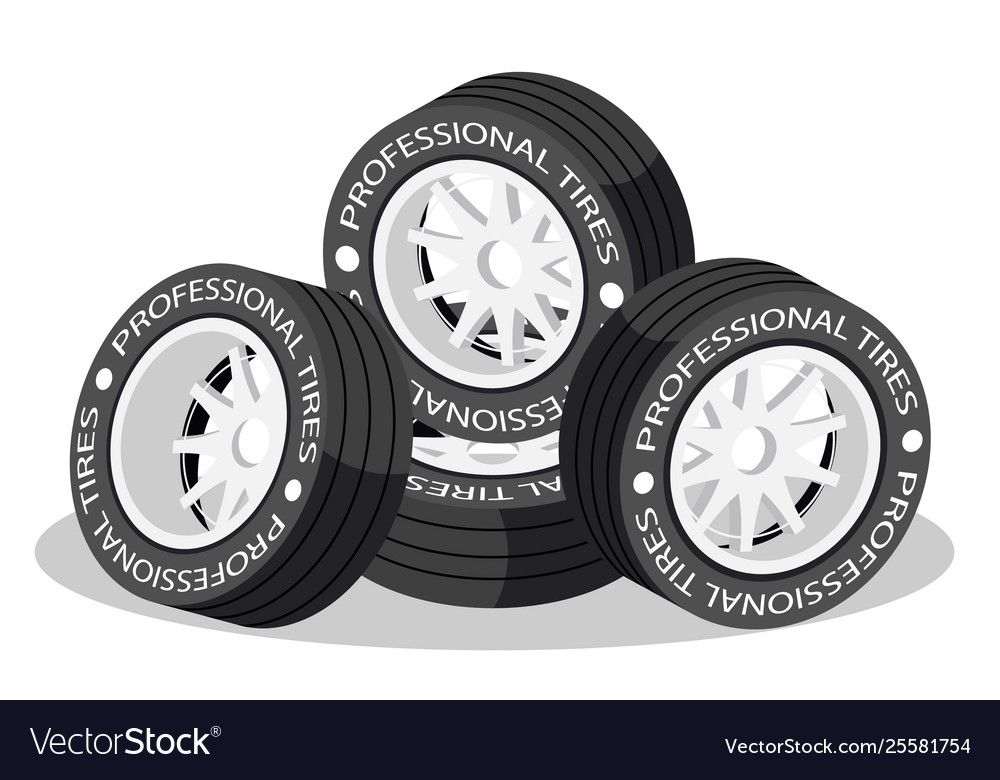 Isolated 3d isometric wheel tires for sport car