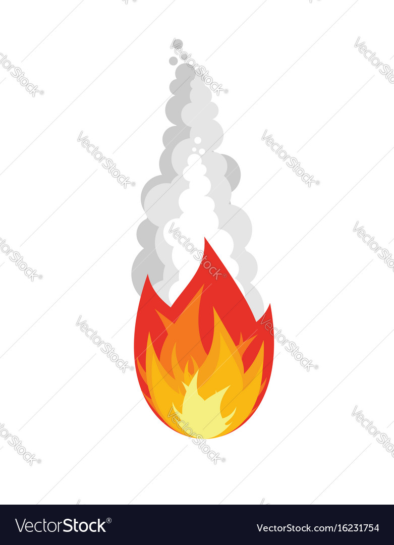 Meteorite isolated fireball on white background vector image