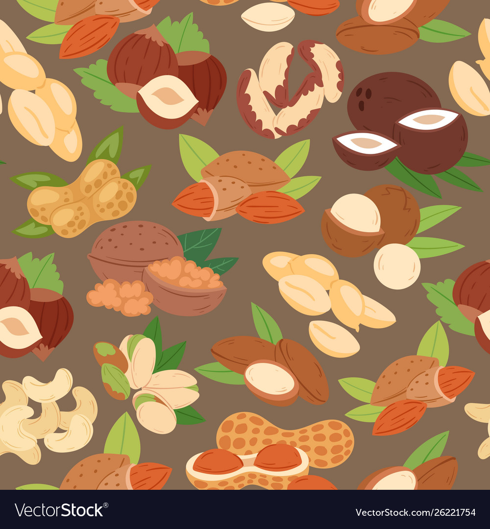 Nuts collection flat cartoon seamless pattern