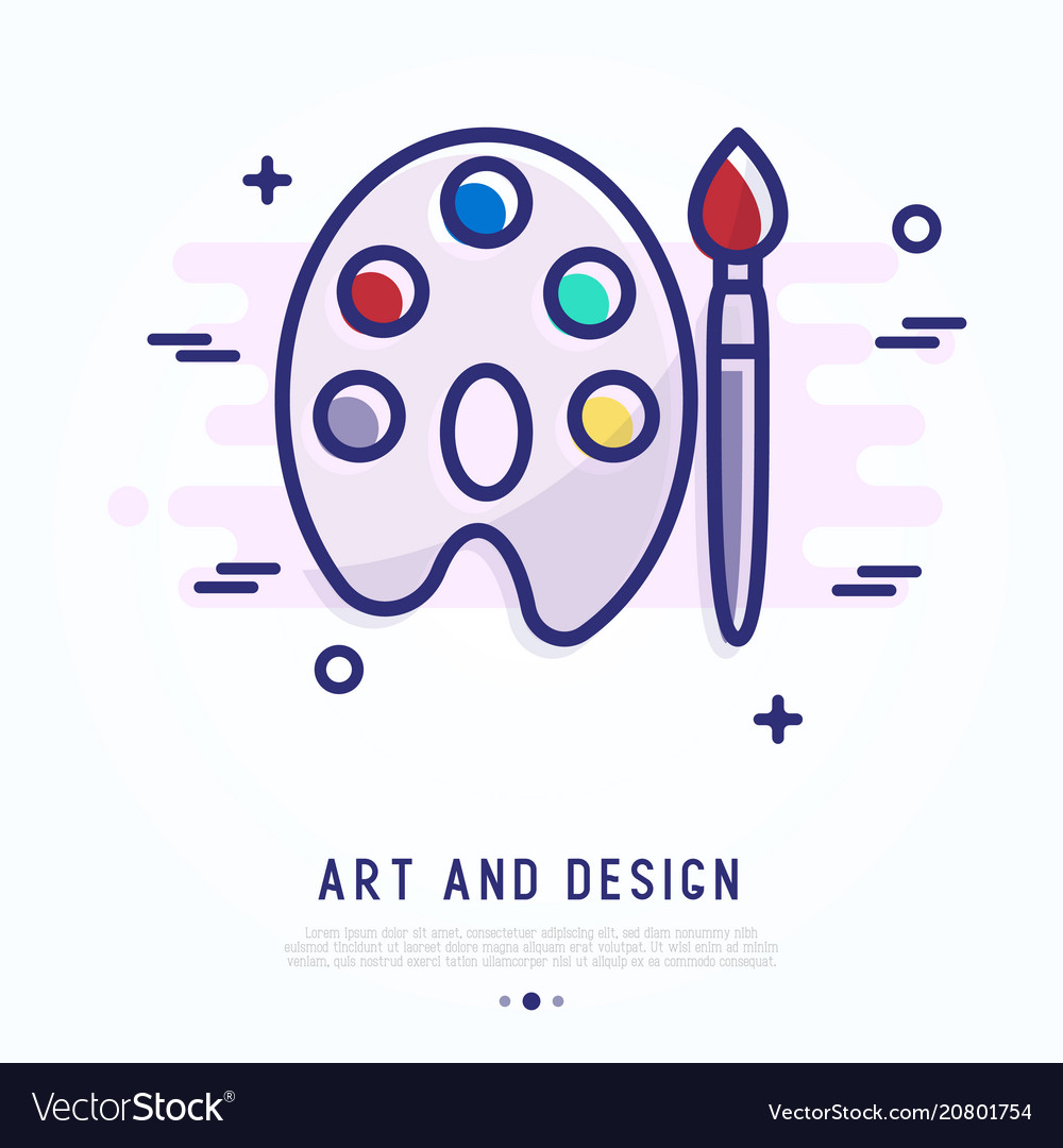 Palette and brush thin line icon