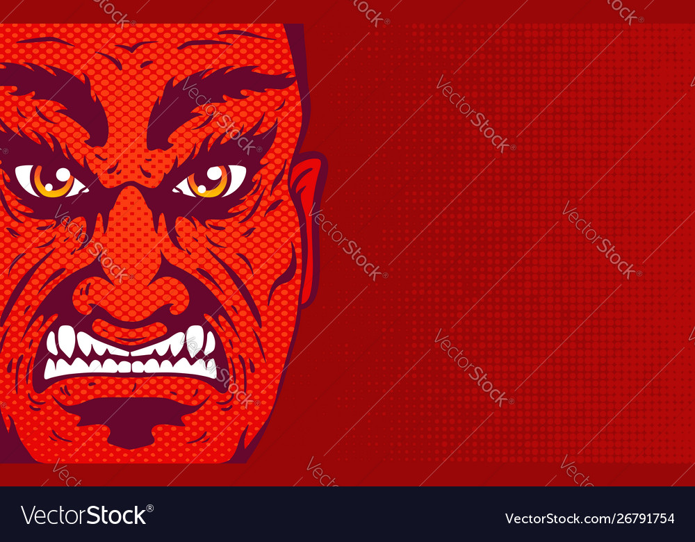 Retro angry man portrait in comics style