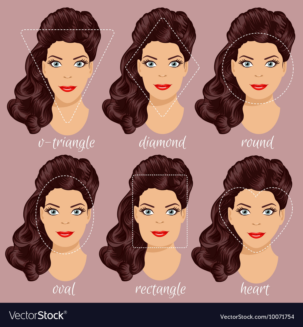 Set of different woman face shapes 2