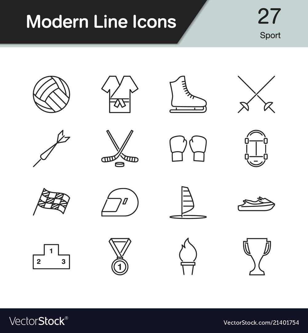 Sport icons modern line design set 27 for