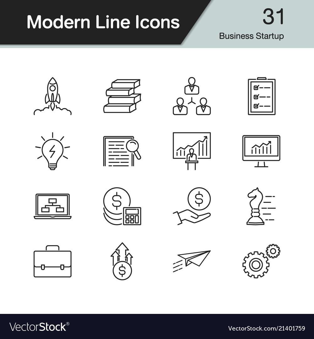 Business startup icons modern line design set 31