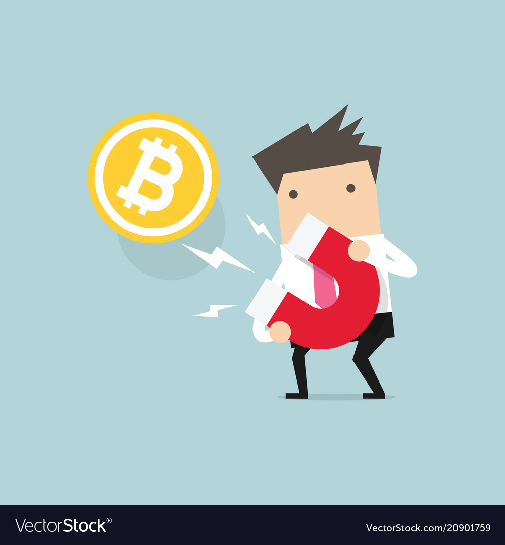 Businessman attracting bitcoin with a large magnet