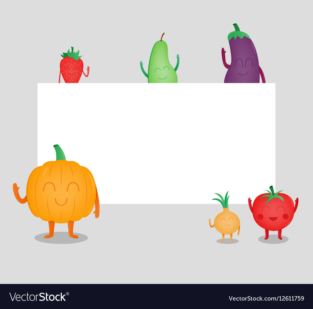 Cartoon fruits and vegetables Eco food background