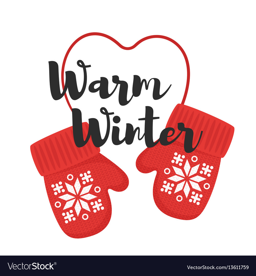 Cartoon style of mittens with title warm winter