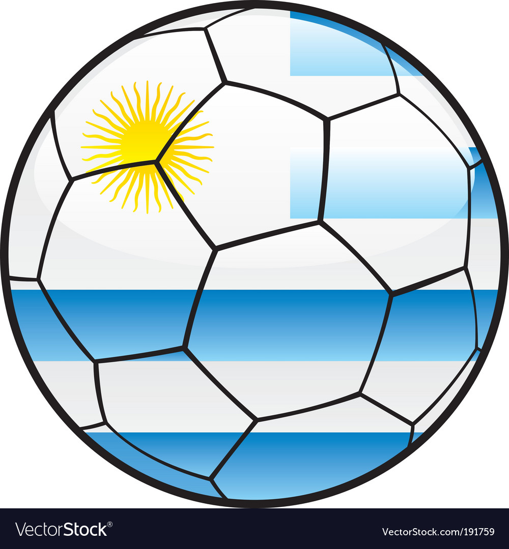 Flag of Uruguay on soccer ball vector image