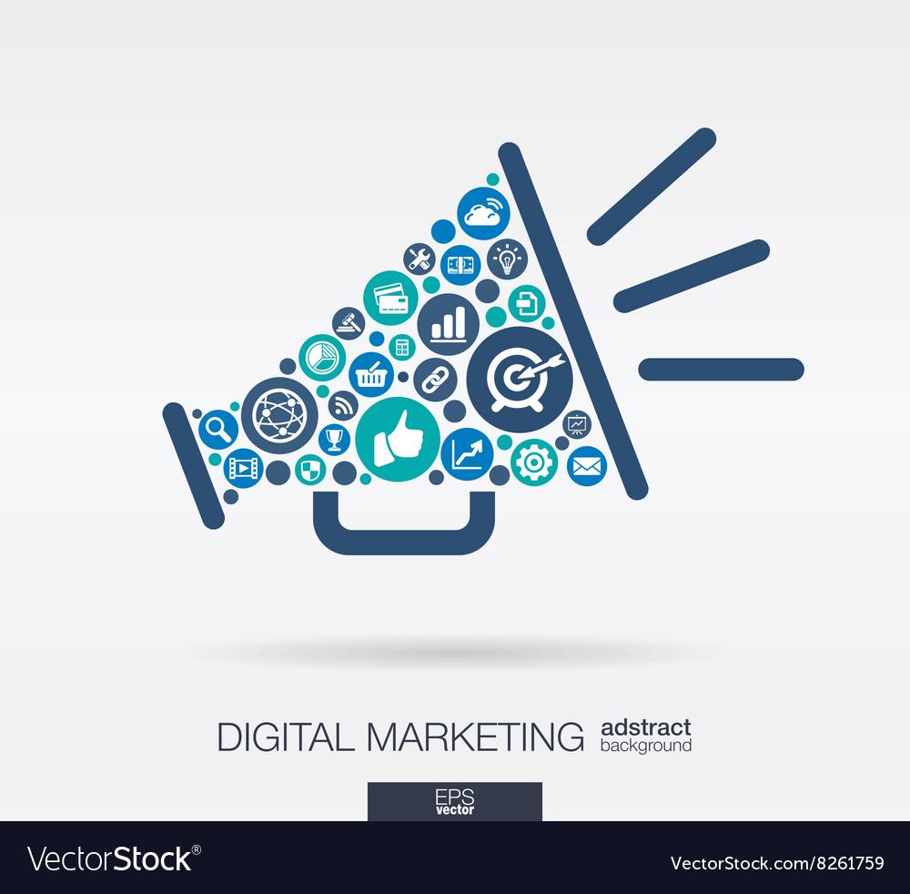 flat icons in a speaker shape digital marketing vector image vectorstock