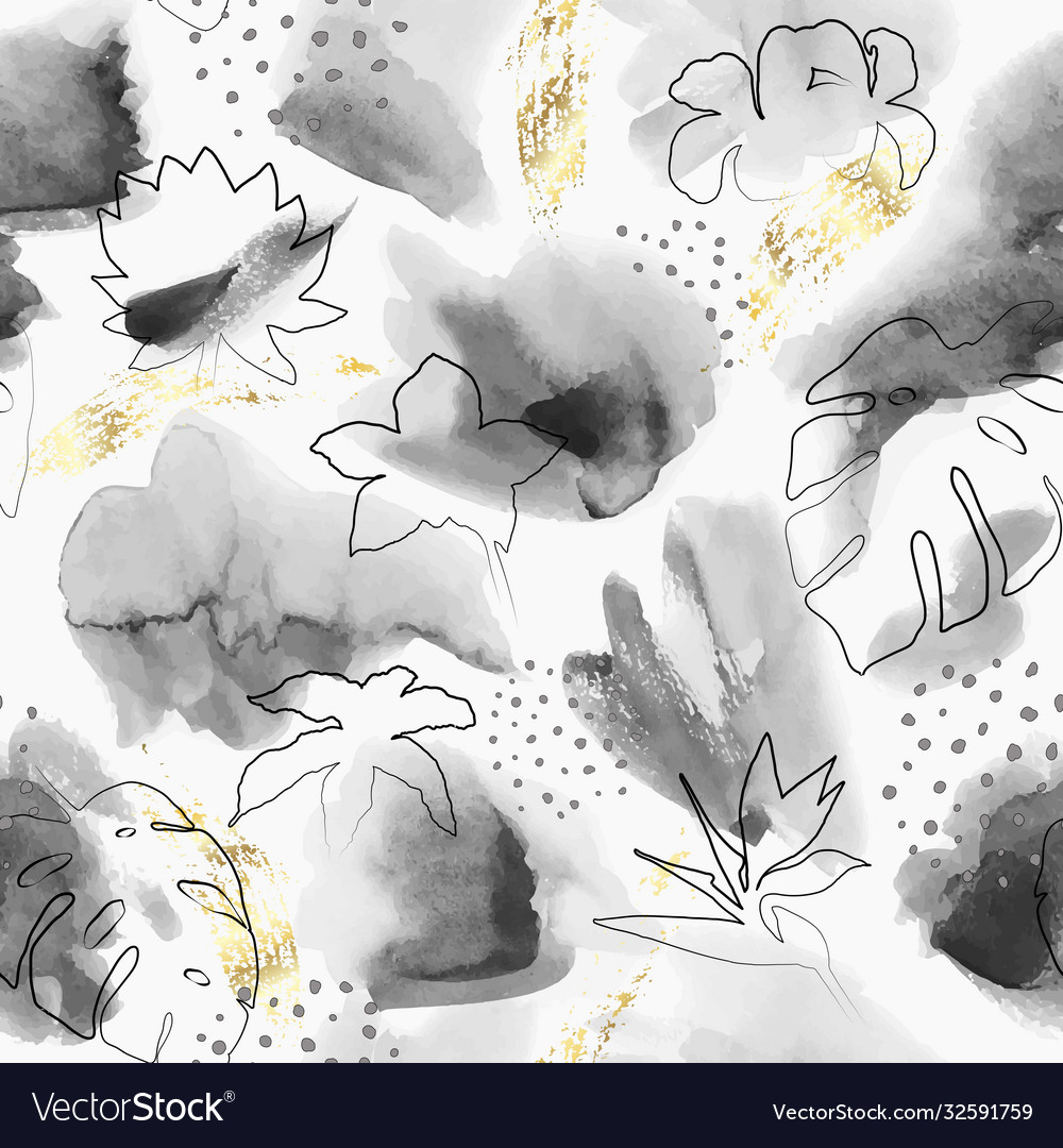 Floral abstract painted pattern watercolor