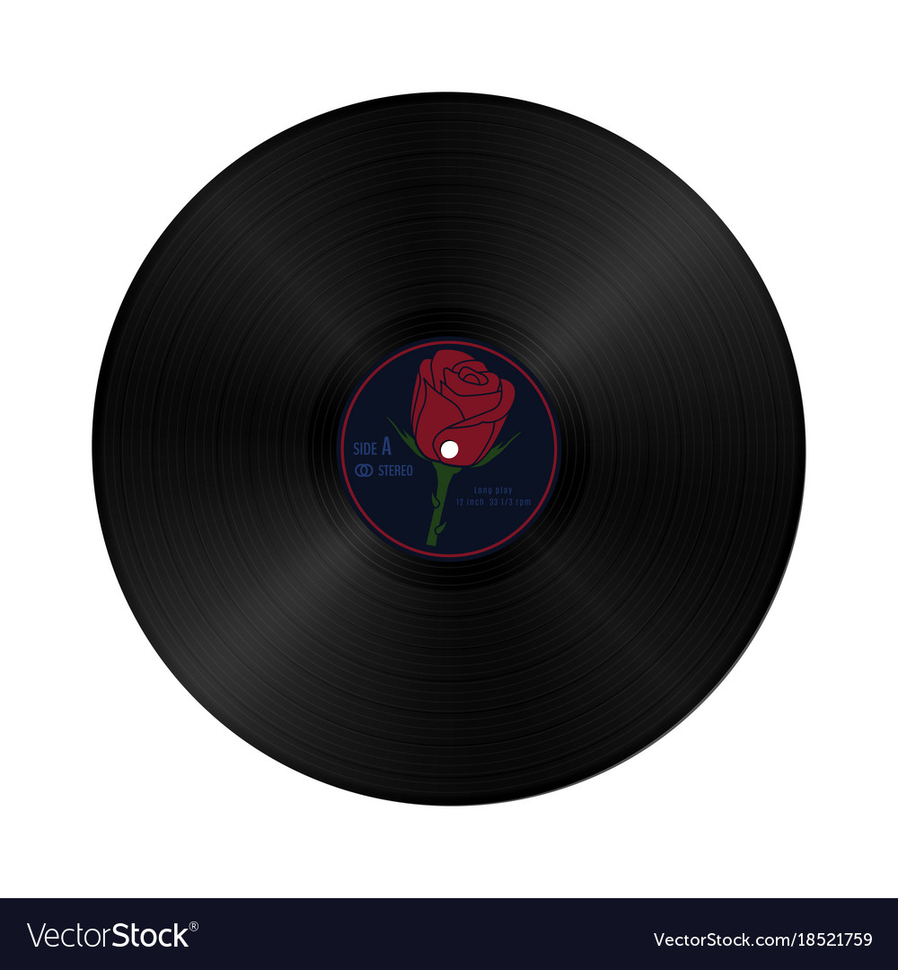 Gramophone vynil record in retro style with