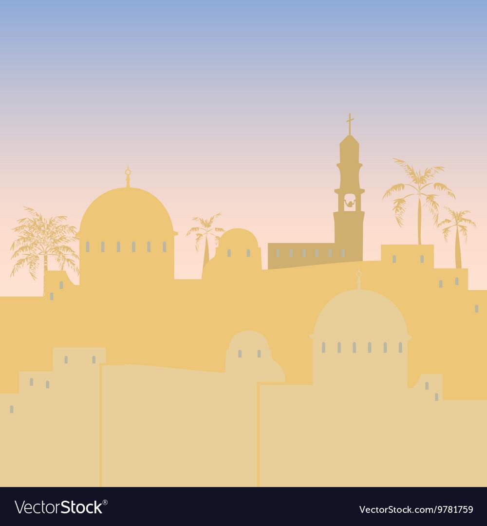 Jerusalem skyline silhouette flat design