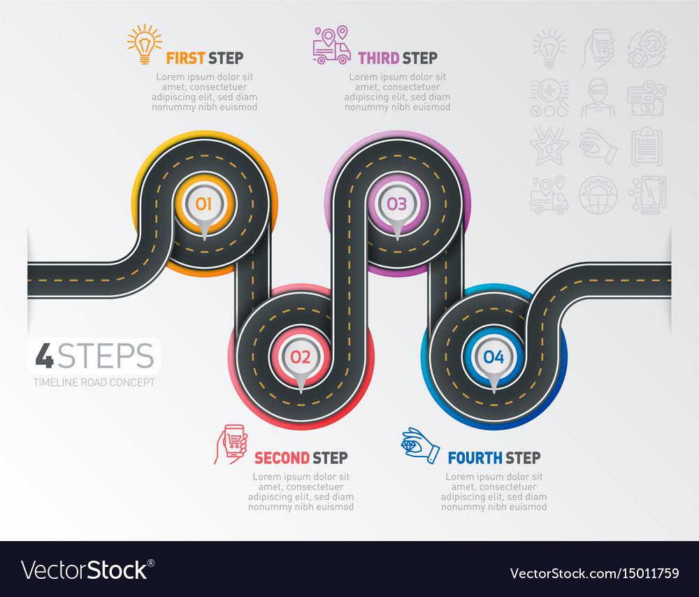 Navigation map infographic 4 steps timeline