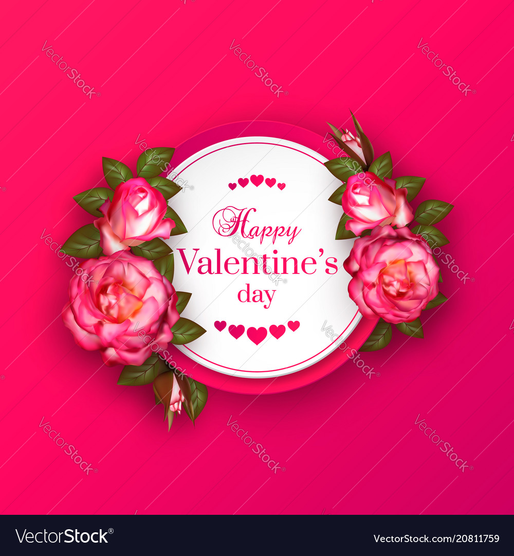 Realistic 3d floral valentines day banner with