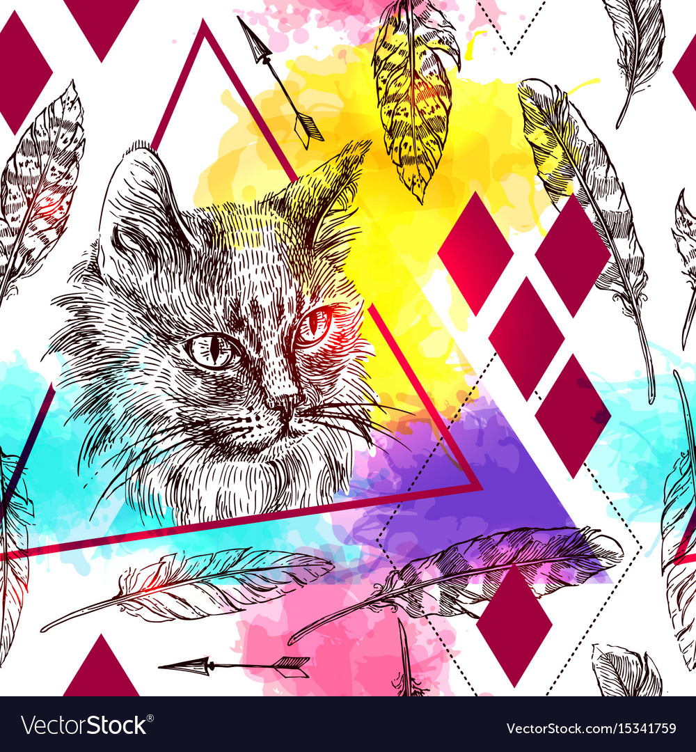 Seamless pattern sketching of cat