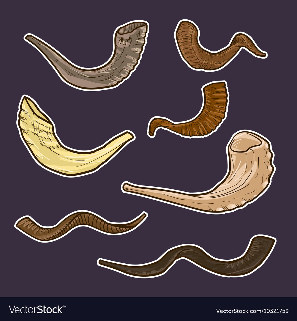 Set of doodle Jewish horn Rosh Hashanah history of vector image