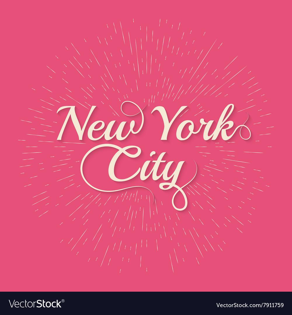 Vintage Hand lettered textured New York