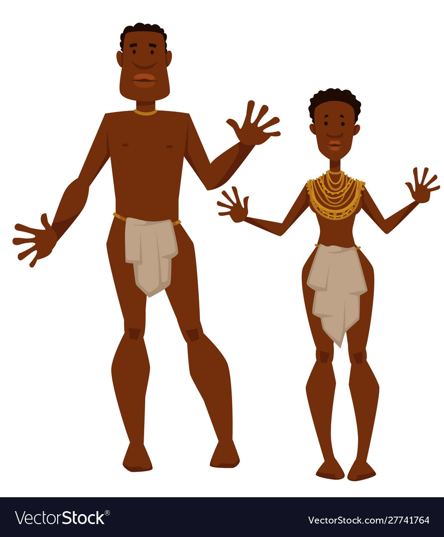 African tribe man and woman aborigines in animal
