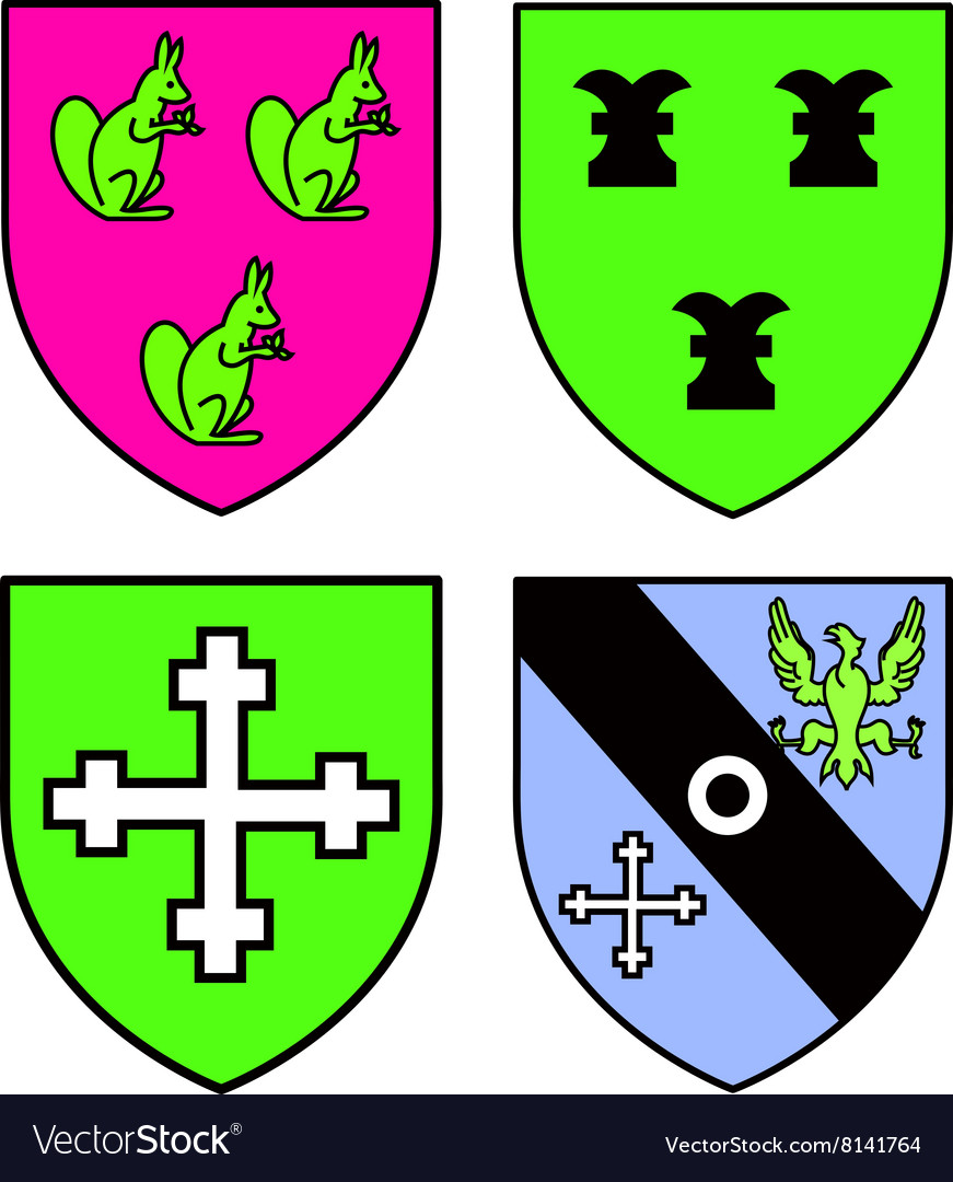 Authentic medieval heraldry shields recolored
