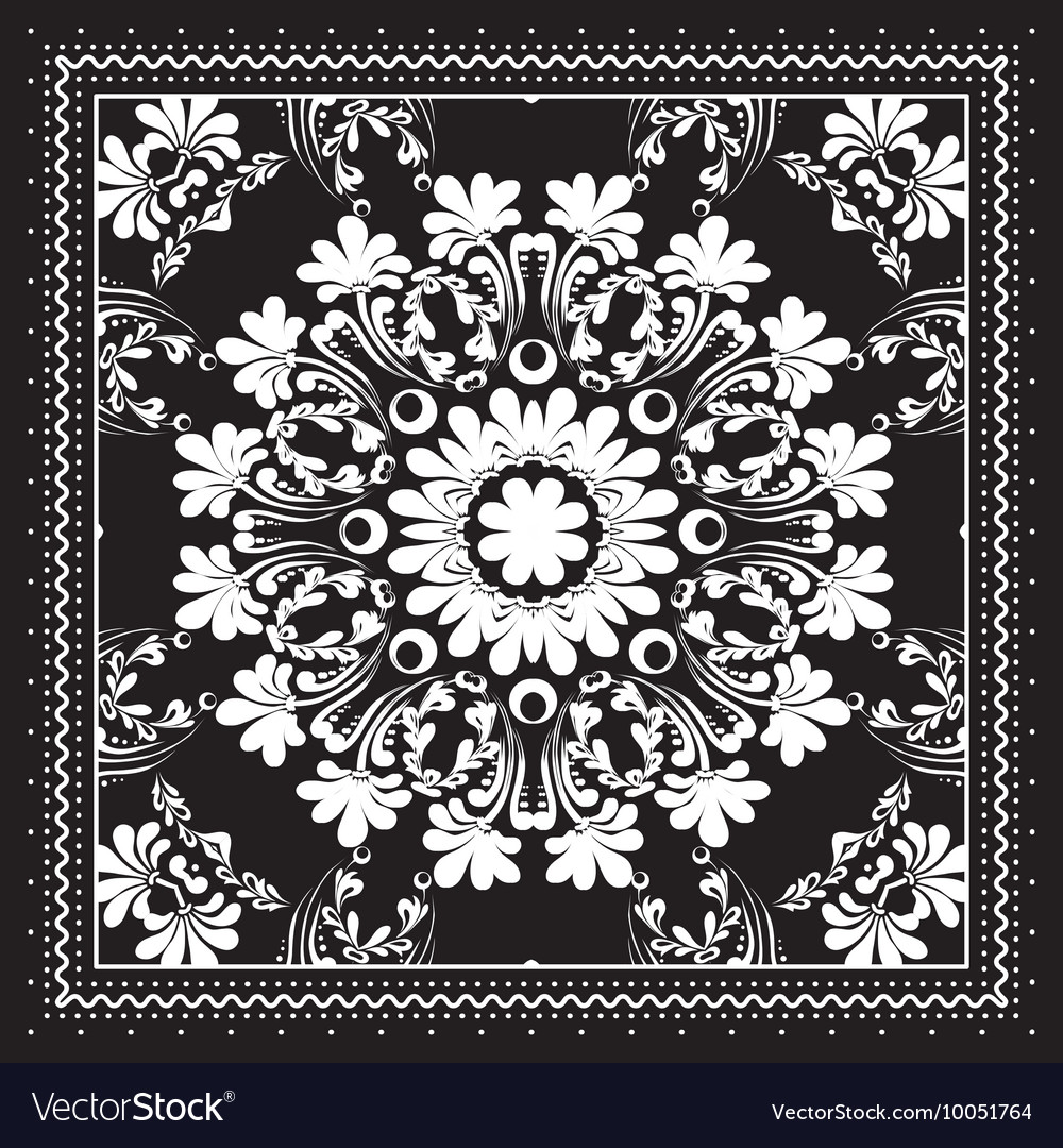 Black And White Bandana Print Design With Borders Vector Image